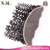 fechamento frontal do laço 7A peruano com Weave profundo do cabelo humano do Virgin da onda dos pacotes 3 pacotes com fechamento frontal do laço 1 parte