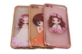 Caixa transparente do telefone móvel de menina de flor TPU do Glitter do vestido de casamento do diamante de Headwear (XSDD-069)