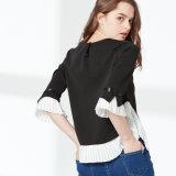 Nuovo disegno delle donne, parte superiore di lavoro a maglia pieghettata del merletto chiffon, camicetta di modo