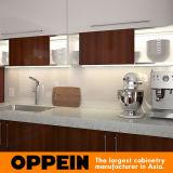 Cabina de cocina modular de la melamina de madera moderna de Brown con la isla (OP15-M08)