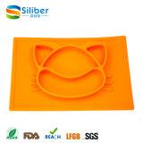 Couvre-tapis d'emplacement de silicones de forme de chat, silicones Placemat et plateau pour des bébés