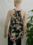 La blusa de la mujer de 2017 ventas al por mayor diseña a señora Chiffon Blouse y tapa de V del cuello de la impresión sin mangas de las blusas