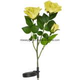 Gelbe Rosen-Blumen-Solarlichter, angeschaltene Garten-im Freien dekorative Solarlandschaft LED Rose beleuchtet während des ganzen Jahres, großes Geschenk