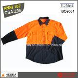 Longue chemise 100% de coton de chemise de travail de chemise salut à savoir avec la norme de CSA Z96