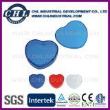 De hart Gevormde Plastic fabrikant van de Container van de Pil met de Sleutelring van het Metaal