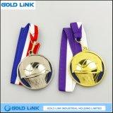 カスタム金属メダルバスケットボールの円形浮彫りは記念品の硬貨を遊ばす