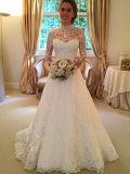 Les longues chemises de collet élevé lacent A - ligne la robe de mariage de train de cour (Dream-100079)