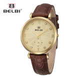 Belbi beiläufige Diamant-Entwurfs-Quarz-Leder-Frauen-Uhr