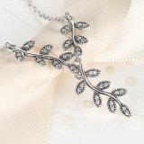 925 Sterlingsilber-funkelnde Blatt-lange hängende Halskette, freie CZ-Frauen-Anhänger-Halsketten-Schmucksachen