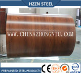 A cor de madeira da textura revestiu a bobina de aço
