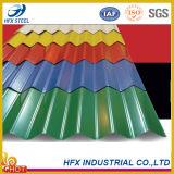 색깔 물결 모양 금속 지붕 장