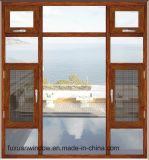 Finestra interna della stoffa per tendine di apertura della finestra di alluminio placcata di legno superiore della stoffa per tendine