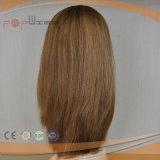 Польностью белокурый парик Wefted женщин человеческих волос отсутствие челок