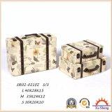 Деревянная античная коробка подарка коробки хранения чемодана с картиной характера