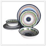 Jeu de vaisselle de mélamine de la forme ronde 3PCS de type du Mexique