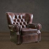 Presidenza di cuoio moderna del sofà del blocco per grafici di legno del sofà del salone (UL-NS068)