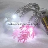 Batería de LED blanco de tela de tela Art Shell Coral forma de luz de hadas estrellada de cadena
