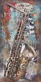 Rétro peinture en métal de 3 D pour un homme jouant le saxophone