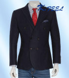 Nueva Breasted chaqueta delgada doble de la raspa de arenque del azul de marina del ajuste de 2016