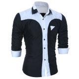Hommes longtemps gainés blancs de vente en gros de chemise de robe d'homme de coton de modèle neuf