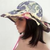 El sombrero 100% de paja, forma estilo flojo con estilo del modelo de la impresión