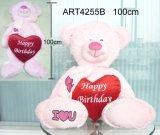 Joyeux anniversaire d'ours de cadeau rose de décoration