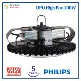 フィリップスLEDチップおよびMeanwell LEDドライバーが付いている高い湾ライト5年の保証100W UFO LED