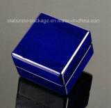 Rectángulo de madera modificado para requisitos particulares rectángulo azul profundo de Jewellry con la luz