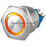 interruptor resistente del vándalo de 25m m con el uno mismo que bloquea 1no1nc el anillo LED impermeable