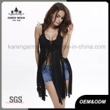 Sexy Crochet señoras de Fashion Fringe borde de encaje Tops
