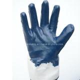 Голубой перчатка работы безопасности нитрила покрынная ладонью польностью окунутая