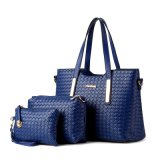 3 PCS 부대 고정되는 Handbag 형식에 의하여 길쌈되는 패턴 PU 디자이너 여자 숙녀
