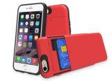 Deslizar o bolso de cartão/entalhe 2 em 1 escudo protetor duro da caixa do telefone de pilha da armadura de PC+TPU (XSEH-010)