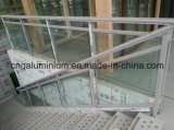 Escaliers en aluminium, Handrial en verre et balustre en verre, pêche à la traîne d'escalier