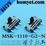 Interruptor de deslizamento SMD de tipo vertical 6MP para produtos digitais (MSK-1110-G15-N)