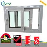 Finestra di vetro orizzontale di plastica standard di scivolamento dell'Australia UPVC del membro di Awa
