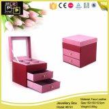 Caja de joyería de color rosa hecha de cuero