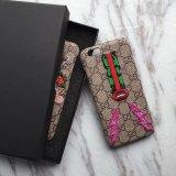 Caja de lujo del cuero del bordado de la marca de fábrica para iPhone6