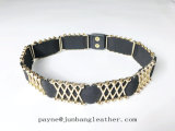 Verzierter elastischer Riemen-Metallschnur-Frauen-Riemen