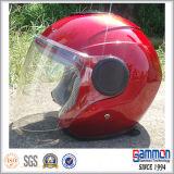 Shine-Rot-geöffneter Gesichts-Motorrad-/Roller-Sturzhelm (OP204)
