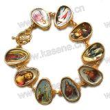 Kunststoff-elastisches Markierungsfahnen-Goldrosenbeet-Armband mit Heilig-Abbildung