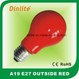 Luz vermelha da parte externa A19 Incandescent