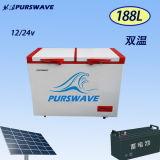 Purswave Wrf-188 188L Kühlraum-Doppelt-Temperatur der Gleichstrom-Solarbrust-Gefriermaschine-12V24V220V110V angeschalten durch Sonnenkollektor und Batterie -20degree 0~10degree