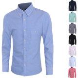 2016 chemises de robe occasionnelle minces d'ajustement de longue de la chemise des hommes poche de poitrine (A428)
