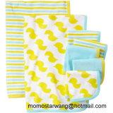 La manta y el Washcloth impresos algodón hechos punto del bebé fijaron en China