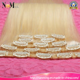 Extensões louras do cabelo do grampo do descorante da cor do cabelo 613 do Virgin do russo europeu