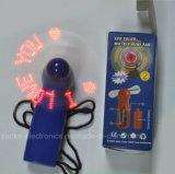 Mini ventilador plástico ABS mensajes programables LED con el logotipo impreso (3509)