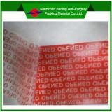 Nastro vuoto aperto della guarnizione della garanzia inalterabile adesiva di sicurezza della scatola