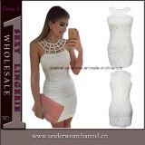 Краткости повязки высокого качества платье белой безрукавный миниое (22609)