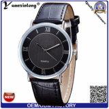 Yxl-844 oro del reloj del cuero de la caja de la aleación de las manos de la manera dos o reloj plateado plata para los hombres o las mujeres
